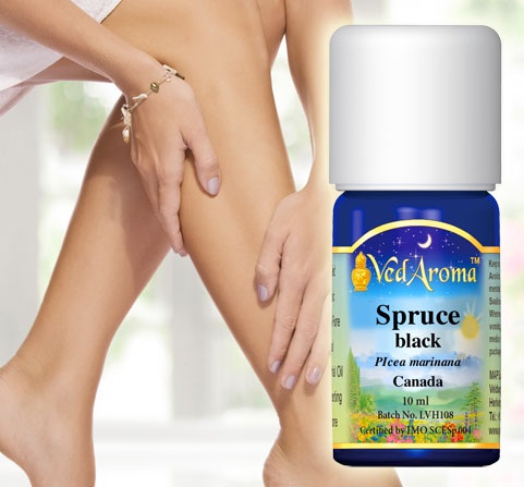A bottle of VedAroma Spruce black essential oil is shown with a photo of a woman applying the oil to her damp legs after showering.